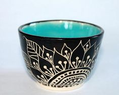 Items similar to Black, White, Blue Sgraffito Vase, OOAK Handmade Vase, on Etsy Pottery Bowls, Ceramic Bowls, Ceramic Pottery, Pottery Art, Pottery Wheel, Pottery Painting Designs, Pottery Designs, Ceramic Painting, Ceramic Art