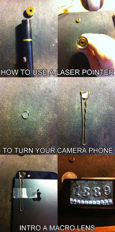 Truco para convertir un puntero láser en un macro para cámara de móvil #trucos life hacks #tips #tricks