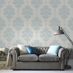 Olana Duck Egg / White Wallpaper by Graham and Brown