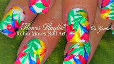 Neon Water Color Flower Nails | Hot + Tropical Nail Art Design Tutorial - YouTube