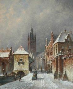 Petrus Gerardus Vertin - Winters stadsgezicht met de Oude Kerk van Delft
