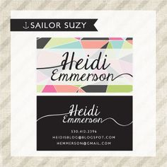 PREMADE BUSINESS CARD design  geometric and by SailorSuzyDesigns, $35.00