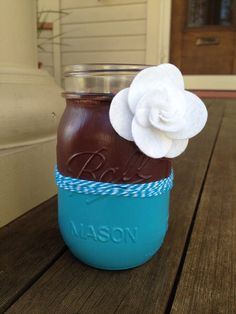Blue and Brown Painted Mason Jar