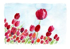 On Sale Tulip Field no. 2 original watercolor painting, colorful, mothers day, cottage chic, Fuchsia, red orange, sky blue, spring. $58.50, via Etsy.