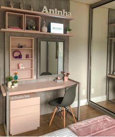 Room Design Bedroom, Room Ideas Bedroom, Home Room Design, Home Design Decor, Small Room Bedroom, Home Decor Bedroom, Bedroom Decor For Teen Girls, Teen Room Decor, Small Room Decor