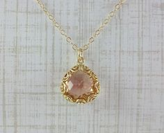 Champagne Glass & Gold Filigree Necklace 14k Gold by DESIGNSBYILAI, $22.00