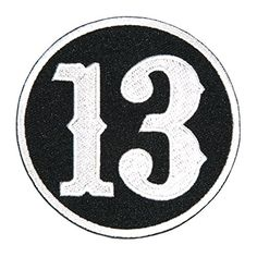 """[Single Count] Custom and Unique (3.0 Inches) """"Biker"""" Classy Number Thirteen in Outlined Circle Iron On Embroidered Applique Patch {White and Black Colors} mySimple Products http://www.amazon.com/dp/B013RYLK1S/ref=cm_sw_r_pi_dp_rdfIwb152P1VJ"""