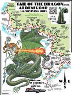 Tail of the Dragon - Deals Gap, NC Nice road trip for when I get my Mach Motorcycle Travel, Motorcycle Rides, Bike Rides, Motorcycle Adventure, Dragon Tail, On The Road Again, Smoky Mountain National Park, Blue Ridge Parkway, Great Smoky Mountains