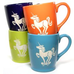 Unicorn skateboarder rules the park. This large, sturdy coffee mug comes in tangerine orange, navy blue, sky blue or celery green. Large ceramic coffee mugs - - dishwasher-safe, microwave-safe - sandb Real Unicorn, Unicorn And Glitter, Magical Unicorn, Rainbow Unicorn, Unicorn Party, Unicorns And Mermaids, Cute Mugs, Magical Creatures, Mug Shots