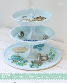 DIY Tiered Jewelry Tray from Dollar Store Finds - The Happy Housie