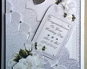 White & Silver Scalloped Personalised Wedding Card
