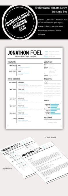 Minimalistic Resume PSD Set (Free-bie) on Behance