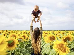 Sunflower field photoshoot. Mother & son photos