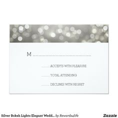 "Silver Bokeh Lights Elegant Wedding RSVP Card Matching Products Available! Elegant wedding ""RSVP"" design with Silver Bokeh Lights and custom RSVP text. Fully customizable! Easy to use and easy to personalize. Order Today!"