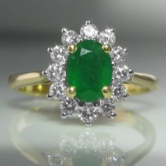 #Emerald And #Diamond #Cluster #Ring €1,795 #Engagement #Jewelry #The #Antiques #Room #Galway #Ireland