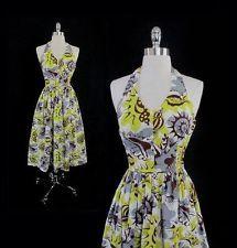Vintage 50's Surfriders Modern Atomic Seashells Hawaiian Halter Dress XS