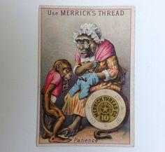 Merrick's Thread Victorian Trade Card, Monkey Sewing Pants