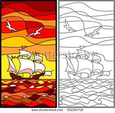 Caravel. Sailing vessel in the sea. Evening. Stained glass window, vertical