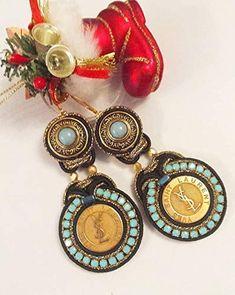 Orecchini Soutache.Orecchini soutache per la sposa da autentici bottoni Shibori, Bracelet Watch, Drop Earrings, Unique, Bracelets, Amazon Fr, Accessories, Jewelry, Soutache Jewelry