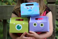 Monsters Themed Favor Boxes. Instant por HilltopCustomDesigns, $7.00 Monster University Birthday, Monster Birthday Parties, 3rd Birthday Parties, Birthday Ideas, Monster Inc Party, Sons Birthday, Baby Birthday, Mike E Sulley, Monsters Inc Baby