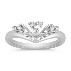 Heart Shaped White Sapphire and Sterling Silver Ring