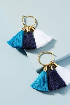 Slide View: 1: Triple Tassel Drop Earrings