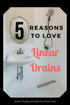 5 reasons to love linear drains! If you are looking for solutions to your small bathroom, you don't love to clean your shower, and you want to remodel your bathroom with the latest modern style.linear drains may be the answer! Lake House Bathroom, Bathroom Spa, Master Bathroom, Bathroom Ideas, Bathroom Closet, Linear Drain Shower, Shower Drain, Large Bathrooms, Small Bathroom