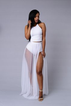 Pair with Prima Donna Top! - Available in Black and White - Elastic Waistband - Maxi Skirt - Tulle Overlay - High Waist Panty Liner - Made in USA - 100% Polyester