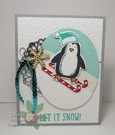 Snow Place Penguin Skier, Stampin' Up! Snow Place and Snow Friends framelits