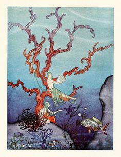 "oldbookillustrations: "" They brought along with them a great many beautiful shells. Illustration by Virginia Frances Sterrett, from Tanglewood Tales by Nathaniel Hawthorne, Philadelphia, Penn. Long John Silver, Art And Illustration, Book Illustrations, French Fairy Tales, Tarot, Virginia, Fairytale Art, Altered Art, Illustrators"