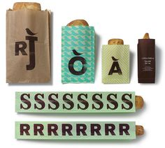 Typographic bread bags