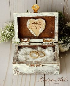 Winter Wedding Rustic Ring Bearer Box Ring Pillow Box Winter Wedding - pinned by pin4etsy.com
