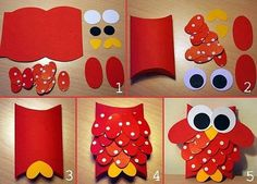 Pillow box owl / punches used Owl Crafts, Paper Crafts For Kids, Animal Crafts, Diy For Kids, Diy And Crafts, Arts And Crafts, Toilet Paper Roll Crafts, Diy Paper, Art Origami