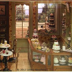 Glorious Roomboxes from the Fall 2012 Seattle Dollhouse Minature Show: Patisserie counter and shop on the shop side of a Witledge - Burgess roombox exhibited at the Fall 2012 Seattle Dollhouse Miniature Show by Kristine Hill.
