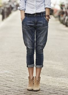 tapered boyfriend jeans #cutoff #denim #refinedstyle