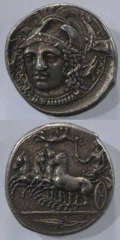Ancient Greek silver coin, Sicily, 4th century B.C.
