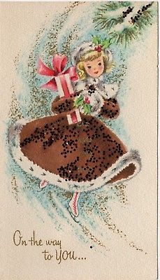 Lady Girl Woman Muff Glitter Dress Pink Brown Unused VTG Christmas Greeting Card