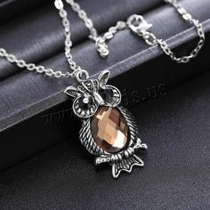 Zinc Alloy Jewelry Necklace, with iron chain & Glass, Owl, plated, oval chain & faceted & with rhinestone, lead & cadmium free, 20x40mm, Length:Approx 20.5 Inch, 3Strands/Bag,china wholesale jewelry beads
