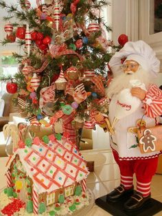 The cutest kitchen Christmas tree. I want to make a fancy gingerbread house. This would be cute to add to my candy filled Apothecary jars. All Things Christmas, Winter Christmas, Christmas Home, Vintage Christmas, Christmas Crafts, Whimsical Christmas, Christmas Ideas, Merry Christmas, Gingerbread Christmas Decor