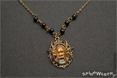 Spider Locket  necklace filigree charm bronze by SpinnWeben
