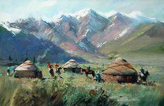 "Kazakh painter Rashid Kulbatyrov. ""The guests"", 2011"
