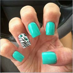 Teal and zebra nails