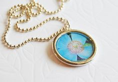 Blue Flower Photo Necklace by LittleVisionsByAnn on Etsy