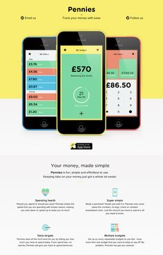 Simple and bold responsive launching soon page for an upcoming finance app called 'Pennies'.