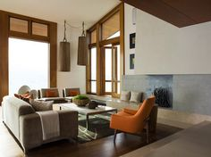Contemporary living room by Sutton Suzuki Architects Modern Contemporary Living Room, Living Room Modern, Living Area, Living Room Designs, Living Rooms, Fall Color Schemes, Living Room Orange, Great Rooms, Family Room
