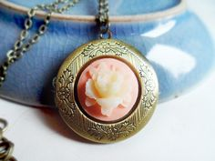 Necklace with a brass locket and pink / ivory flower cameo, vintage style bronze by SelmaDreams on Etsy