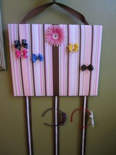 Hair Bow Board Organizer - Pink and Brown with Headband Holders by Delicate Daisy, $28.00