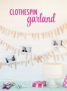 Simple Birthday Garland ~ using Clothespins and kitchen twine - Would work for seating cards at a DIY wedding Chuggington Birthday, The Chic Site, Kitchen Twine, Birthday Garland, Seating Cards, Throw A Party, Girl Birthday, Birthday Ideas, Party Items