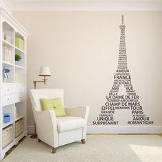 Vinilo decorativo de la Torre Eiffel con palabras en francés. Masquevinilo.com