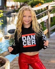 DANCER Crop Hoodie with fun racing stripe sleeves is an homage to the RUN DMC logo of the classic hip hop fame. The hoodie is from Covet Dance, Leggings: PC: Young Girl Fashion, Preteen Girls Fashion, Kids Fashion, Hip Hop Outfits, Cute Girl Outfits, Kids Outfits, Mädchen In Leggings, Dance Leggings, Hip Hop Kleidung